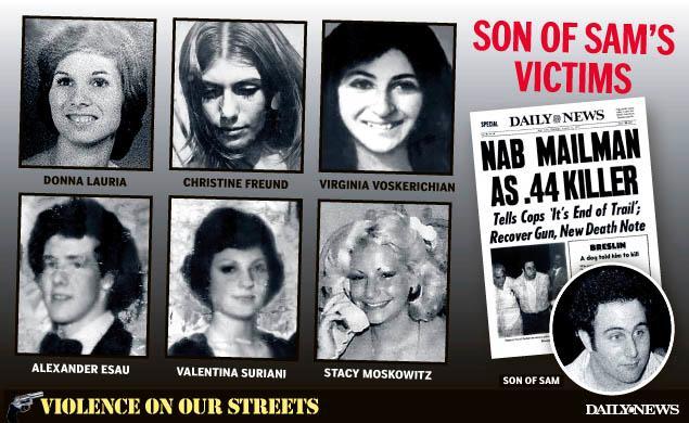 David Berkowitz Son of Sam victims and survivors Donna Lauria Christine Freund Virginia Voskerichian Alexander Esau Daily News