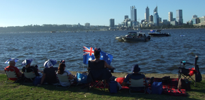 South Perth Foreshore on Australia Day waiting for City of Perth Skyworks watching Swan River boats, flags swaying in the Freo Doctor winds cooling off heat
