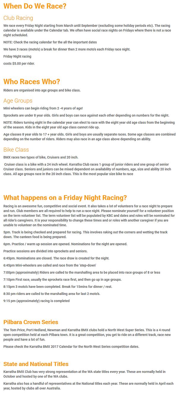 2018 Karratha BMX Club Racing Informatio