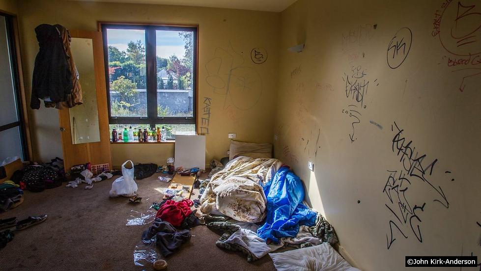 Homeless streetkids living in abandoned
