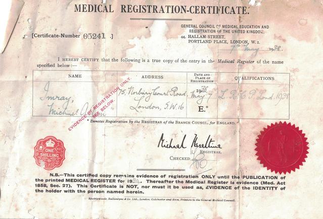 Michael Hazeltine's Medical Registration