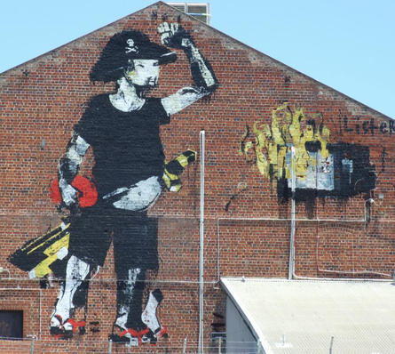 Thong wearing pirate by Anthony Lister on the back of Metropolis Fremantle - 14 December 2