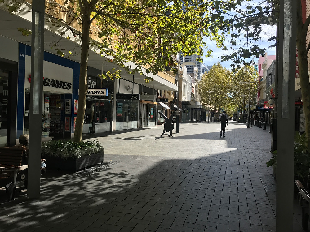 Hay Street Mall during an afternoon that should have been bustling with commuters and shoppers