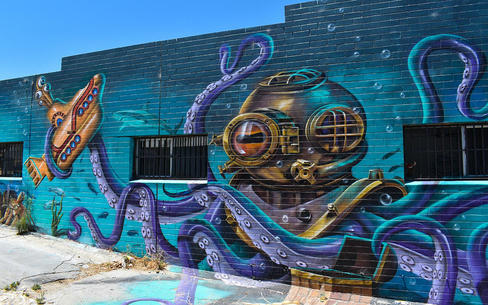 Purple Octopus Mural by Art By Destroy at the South Beach Fish & Chips, 386 South Terrace