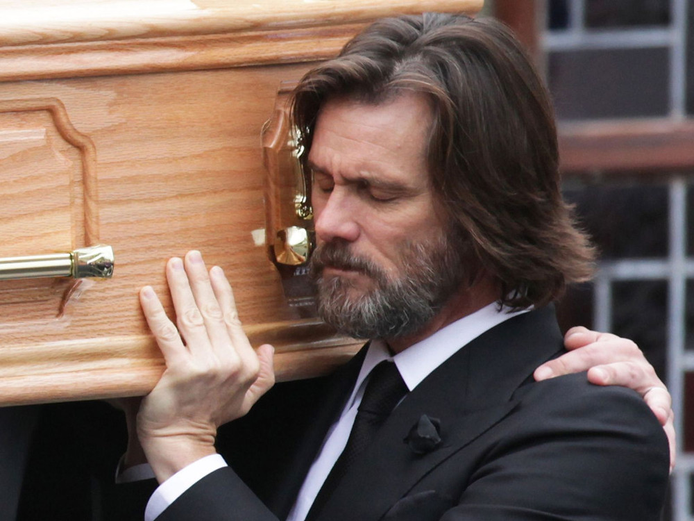 Jim Carrey at Cathriona White's funeral in October 2015 after she overdosed on various prescription drugs