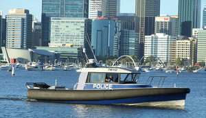 North Fremantle Water Police in South Perth on the Swan River for City of Perthg Australia Day Skyworks Freo Doctor winds cooling summer heat