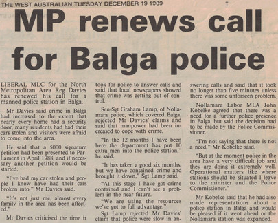 MP renews call for Balga police - 19 December 1989