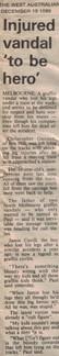 Injured vandal 'to be hero' - 19 December 1989