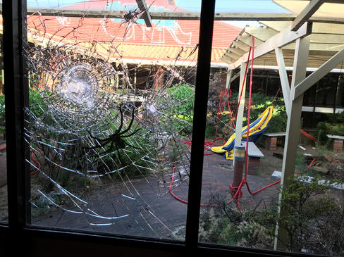 Window with a spider in the  National Ar