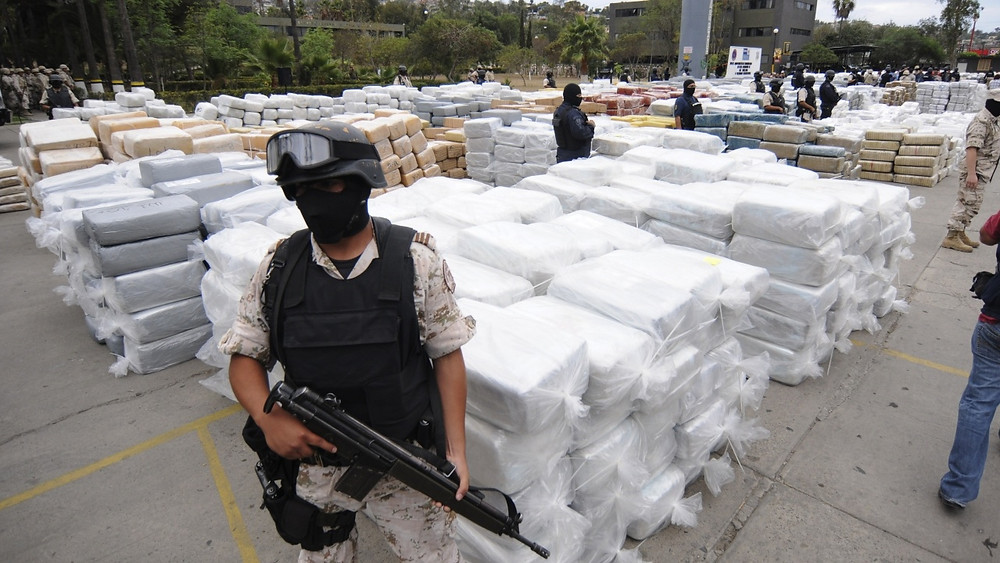 Mexican authorities seized more than 371kg of cocaine being transported toward the U.S. border inside a truck bearing the markings of the country's Social Security Institute