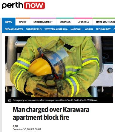 Man charged over Karawara apartment block fire