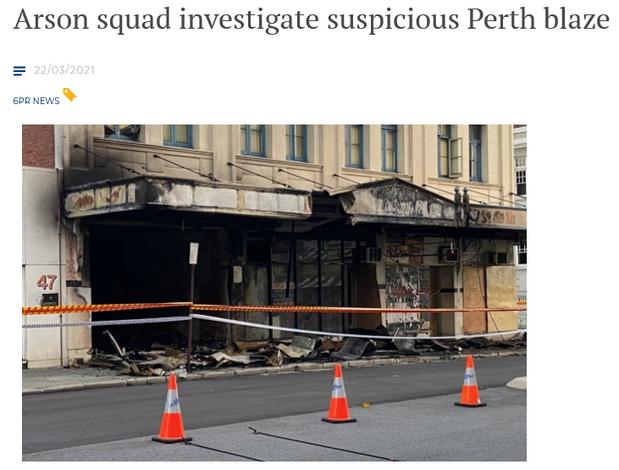 Arson squad investigate suspicious Perth