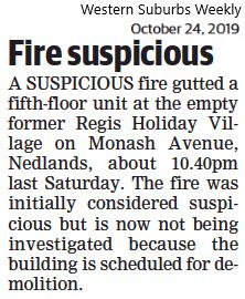 Fire suspicious - 24 October 2019