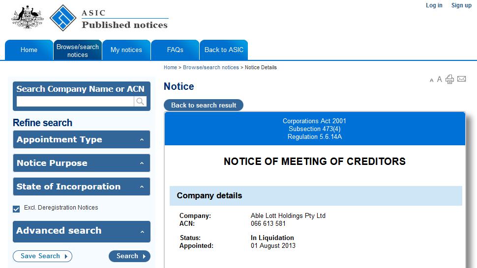 Able Lott Holdings Pty Ltd 066 613 581 C
