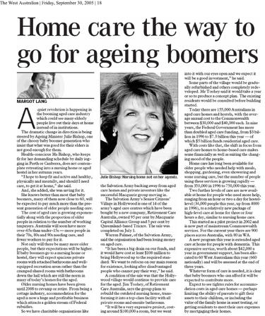 Home care the way to go for ageing boome