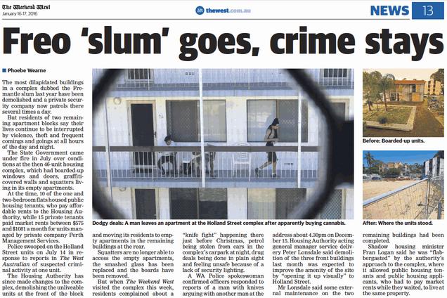 Freo slum goes, crime stays - 16 January
