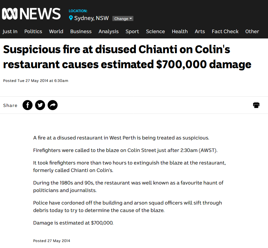 Suspicious fire at disused Chianti on Collin's