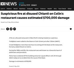 Suspicious fire at disused Chianti on Collin's