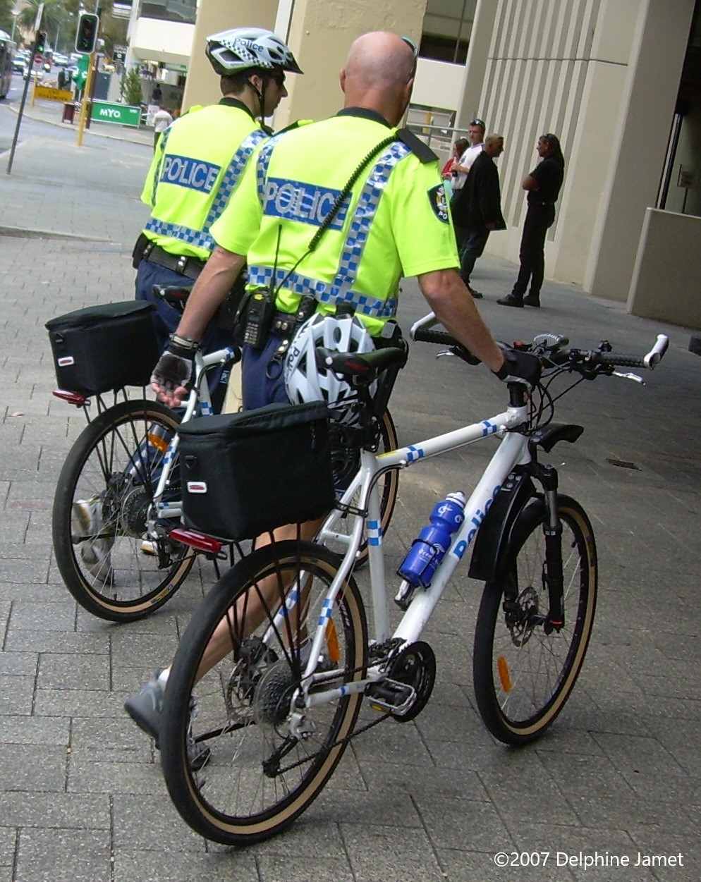 Western Australia Bicycle Section police officers at Perth Magistrates Court on Hay Street effort to curb crime and anti-social presence high visible crime prevention