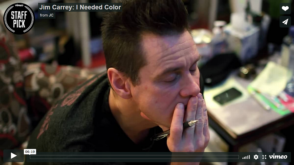 "Jim Carrey's 2017 documentary I Needed Color. Carrey picked up art six years ago as a way to ""heal a broken heart,"" and it's produced some of his best work ever"