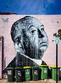Niks Westergard's mural of Alfred Hitchcock on the wall of 16 Preston Street - 26 Septembe