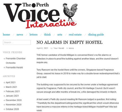 No alarms in empty hostel