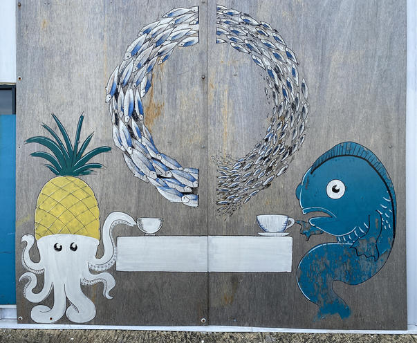05 - A fish and octopus mural in the front area of the Coast Port Beach restaurant bar & v