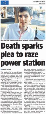 Death sparks plea to raze power station