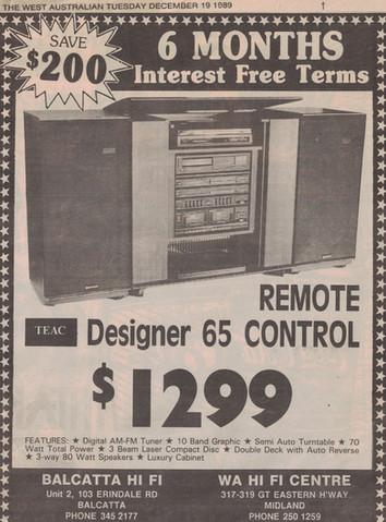 TEAC Designer 65 Remote Control Stereo - 19 December 1989