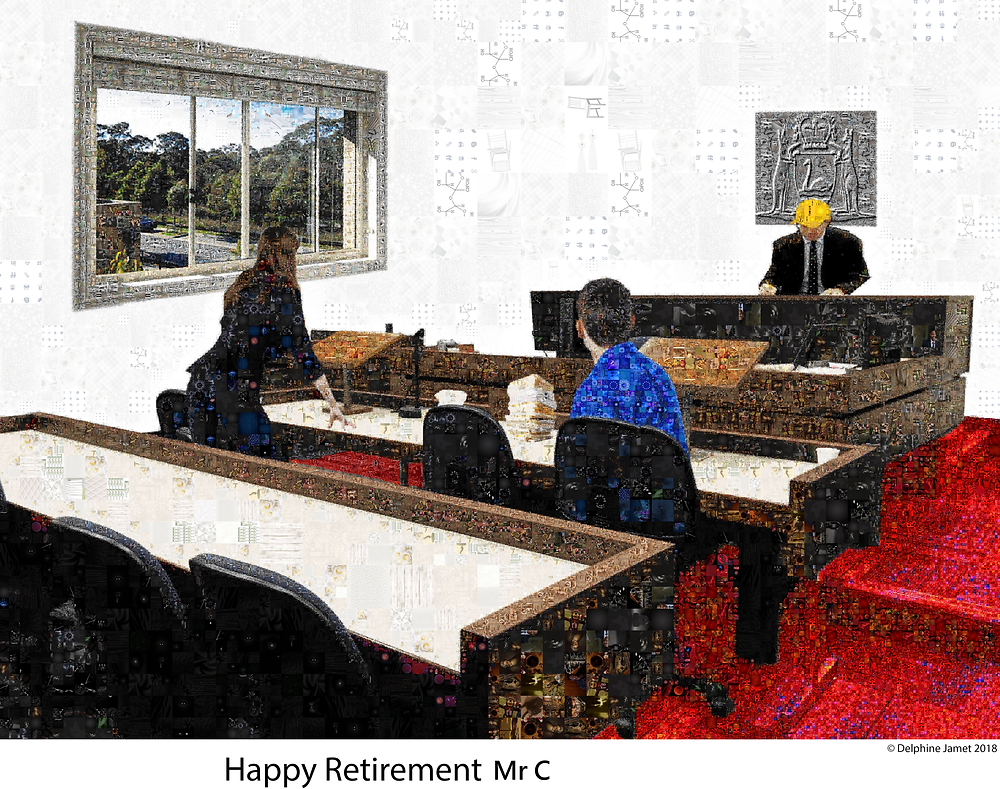 Perth Magistrates civil court mosaic for a retiring Western Australia boss Photoshop art - Delphine Jamet