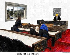 Perth Magistrates civil court mosaic for a retiring Western Australia boss Photoshop art - Delphine Jamet
