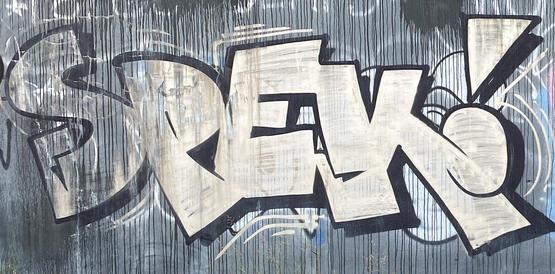 Spek graffiti tag in a vacant block at 190 Adelaide Terrace, East Perth - 05 March 2021