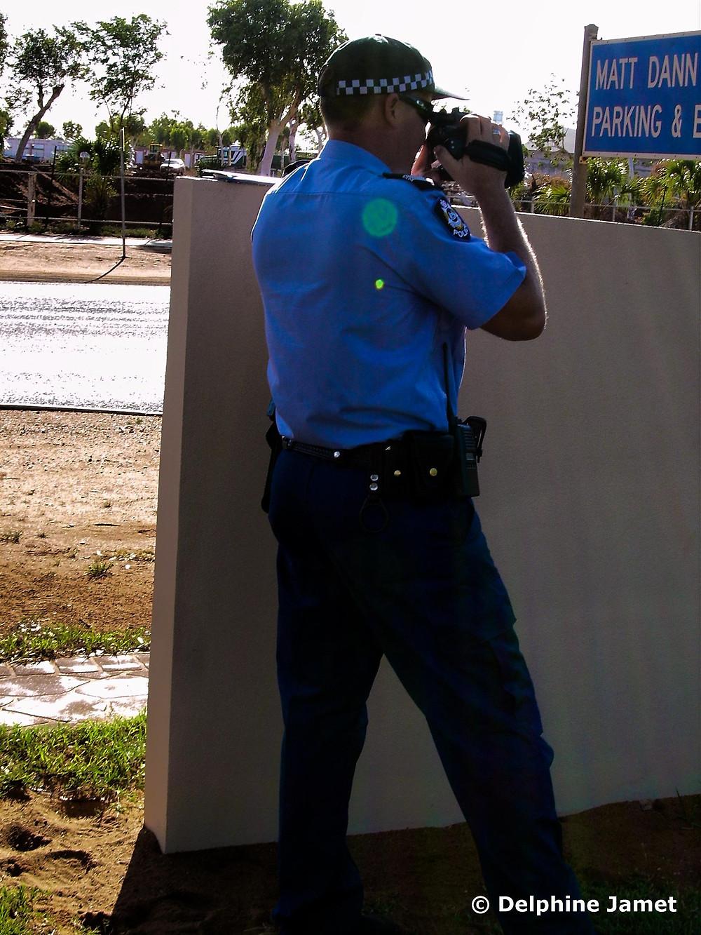 A Western Australia Police Service Senior Constable conducts traffic speed radar checks in South Hedland in the Pilbara - Delphine Jamet
