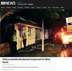 Police outside blackened restaurant in West Perth