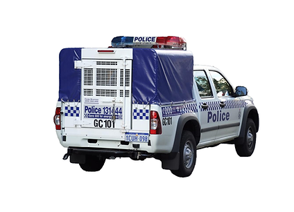 Perth Police paddy wagon driving to Mong