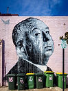 Niks Westergard's mural of Alfred Hitchc