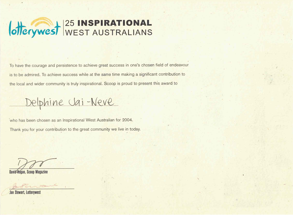 Lotterywest 25 Inspirational West Australians of the Year Award 2004 Delphine Jai-Never Jamet interviewed Scoop Magazine youth achievement trying to make a difference