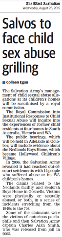 Salvos to face child sex abuse grilling