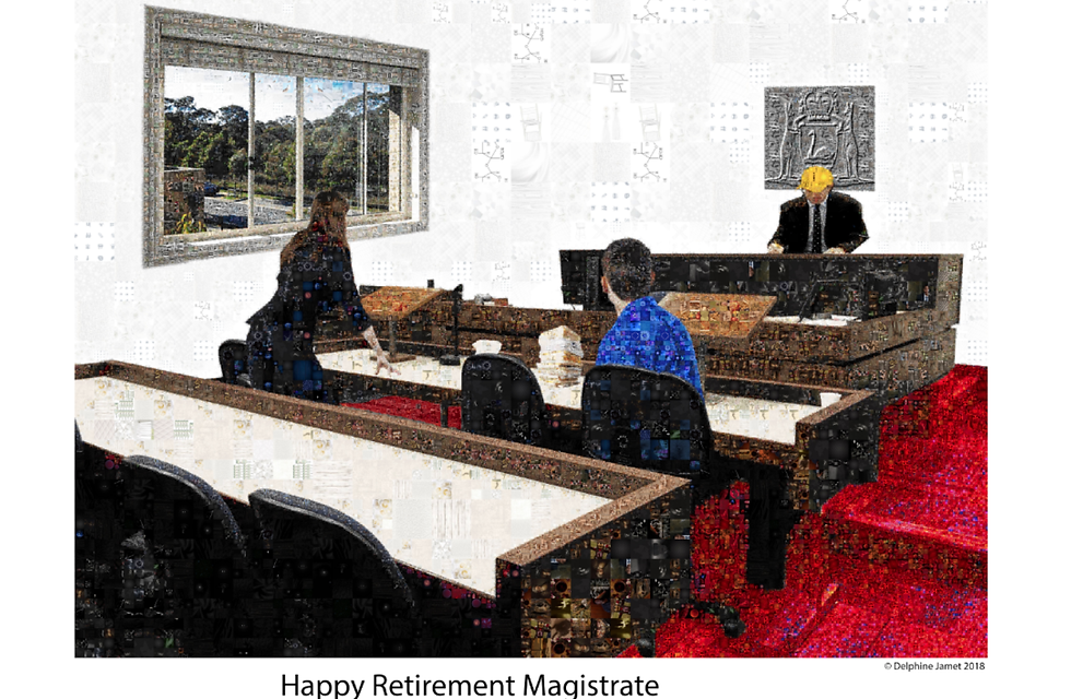 Court mosaic retirement present for a ma