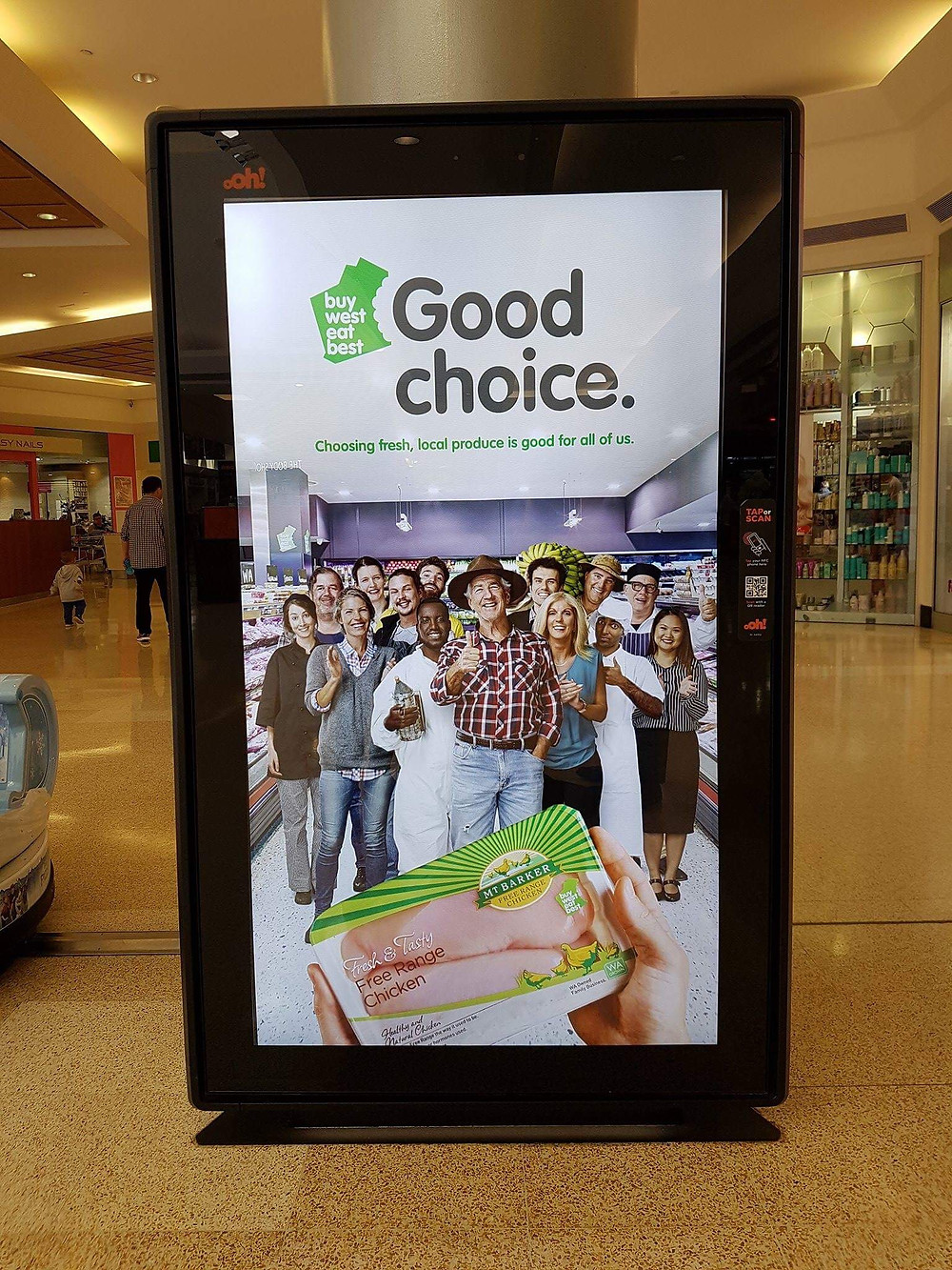 A digital LED retail screen Buy West Eat Best Good Choice ad Garden City Shopping Centre Booragoon managed byDepartment of Primary Industries + Regional Development