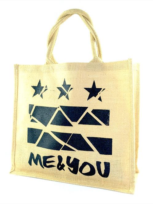 Me & You Burlap Tote Bag