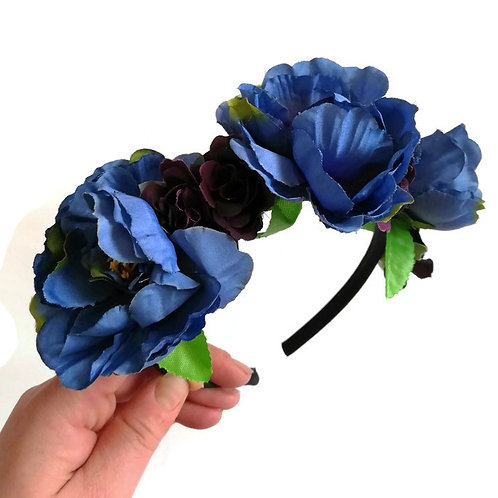 Midnight Blue Flower Crown