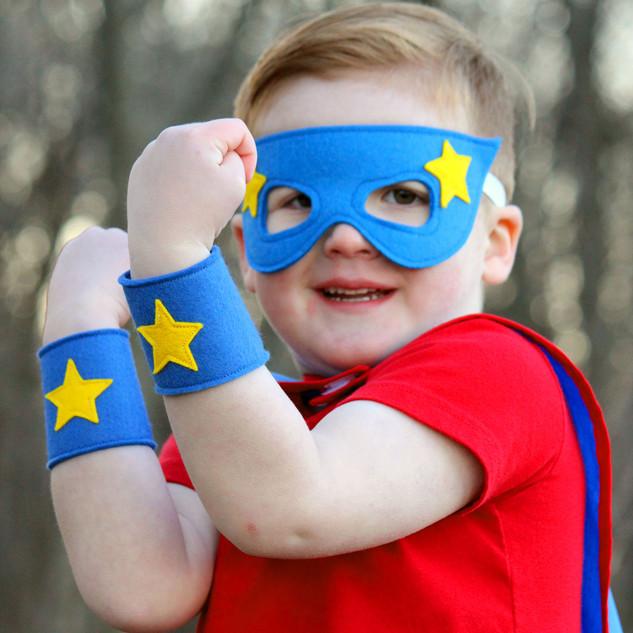 Blue superhero mask and cuffs