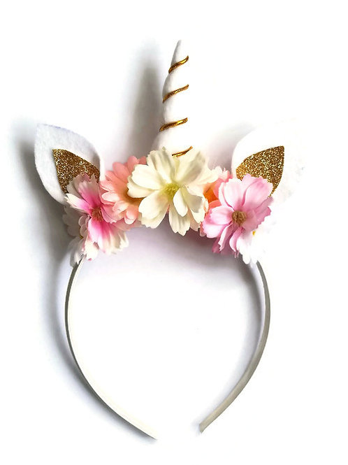 Pink & Gold Unicorn Horn Headband