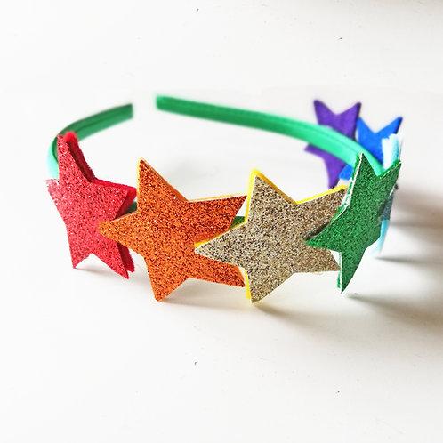 GSH02 Rainbow Star Headband x 3