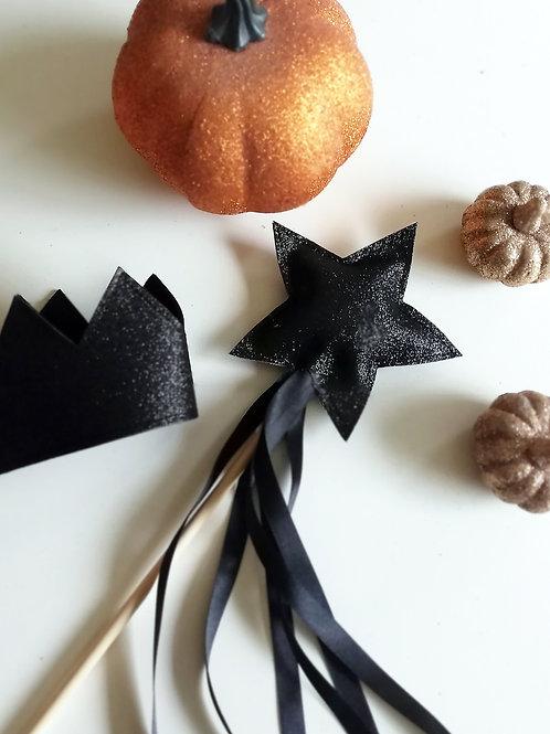 Black Glitter Wand and Crown Set