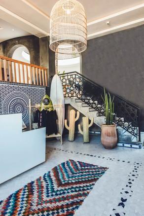 Retreat lobby morocco rug wicker design