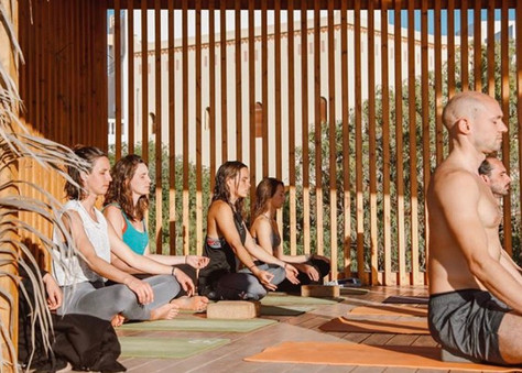 morning mediation at yoga shala retreat 2020