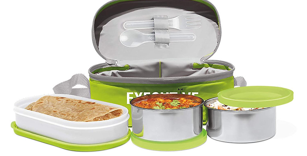 Milton Executive Lunch Box Soft Insulated Tiffin Box (2 SS Container,1 Microwave
