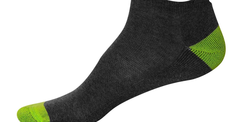 JOCKEY CHARCOAL MELANGE & PERFORMANCE GREEN MEN LOW ANKLE SOCKS
